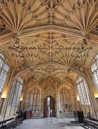 OXFORD - JULY 2013:   The ornate vaulted ceiling of the Divinity Scvhool is one of the highlights of the Bodleian Library, as seen in Oxford circa 2013.