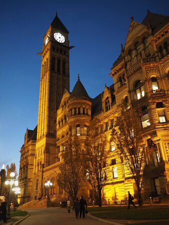 old city: Toronto Old City Hall illuminated at night Editorial