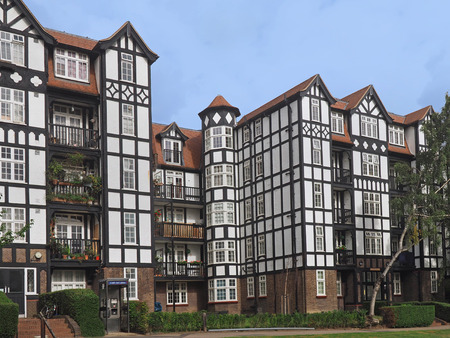 tudor: Tudor style apartment building