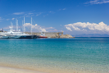 Azure Water and Blue Sky of Rhodes Greece Summer Coast Landscape