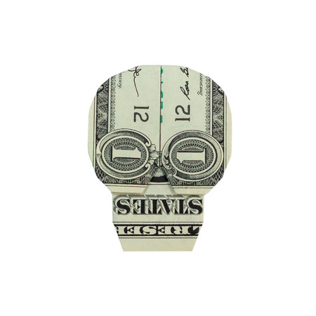Money Origami SKULL Folded with Real One Dollar Bill Isolated on White Background