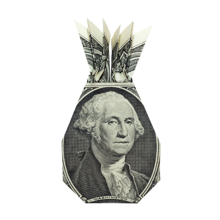 Money Origami PINEAPPLE with George Washington Portrait Folded with Real One Dollar Bill Isolated on White Background Standard-Bild - 112230407