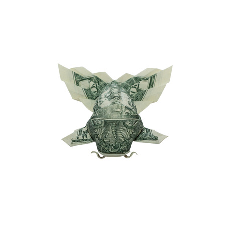 Money Origami KOI FISH with Fluffy Tail Folded with Real One Dollar Bill Isolated on White Background Standard-Bild - 112230408