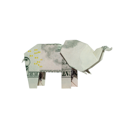 Money Origami ELEPHANT Right Side Folded with Real FIVE Dollar Bill Isolated on White Background
