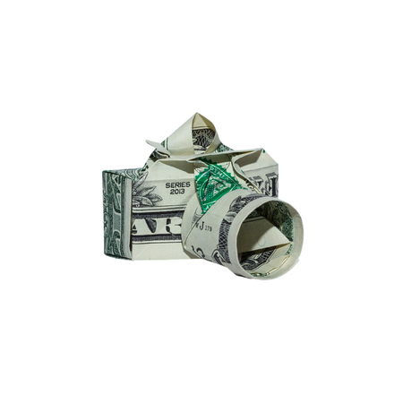 Money Origami CAMERA Folded with Real One Dollar Bill Isolated on White Background