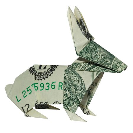 Money RABBIT Origami Easter Bunny Folded Hare Real One Dollar Bill Isolated on White Background Foto de archivo