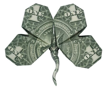 Money Origami Four Leaf CLOVER Shamrock Folded with Real One Dollar Bill Isolated on White Background