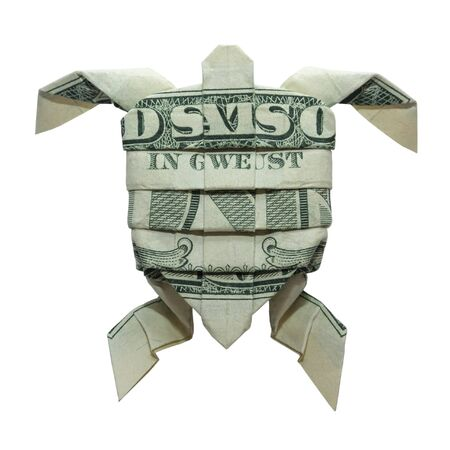 Money Origami SEA TURTLE Folded with Real One Dollar Bill Isolated on White Background