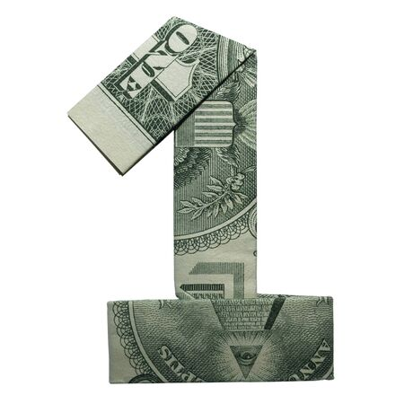 Money Origami DIGIT 1 Number Folded with Real One Dollar Bill Isolated on White Background Foto de archivo