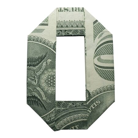 Money Origami DIGIT 0 LETTER O Character Folded with Real One Dollar Bill Isolated on White Background Banco de Imagens