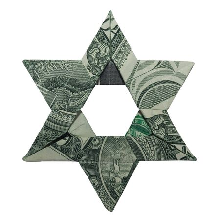 Money Origami Jewish STAR of DAVID Folded with Real One Dollar Bill Isolated on White Background