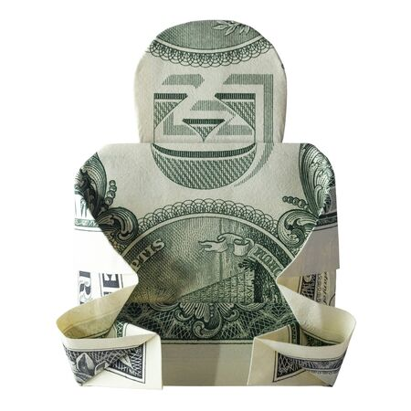 Money Origami BUDDHA Folded with Real One Dollar Bill Isolated on White Background Standard-Bild