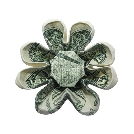 Money Origami Eight Petals FLOWER Folded with Real One Dollar Bill Isolated on White Background