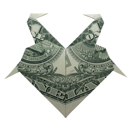 Money Origami HEART with Flamingos Folded with Real One Dollar Bill Isolated on White Background