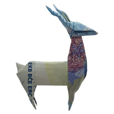 Money Origami Blue DEER Wild Animal Folded with Real 20 Euro Note Isolated on White Background