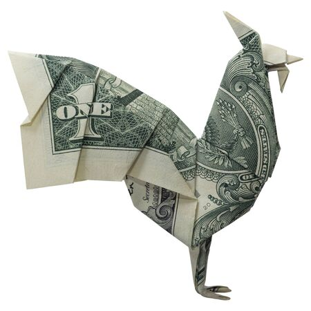 Money Origami ROOSTER Cock Bird Folded with Real One Dollar Bill Isolated on White Background