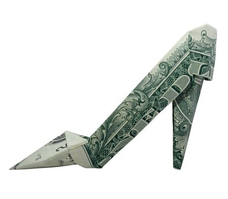 Money Origami High Heel SHOE Folded with Real One Dollar Bill Isolated on White Background