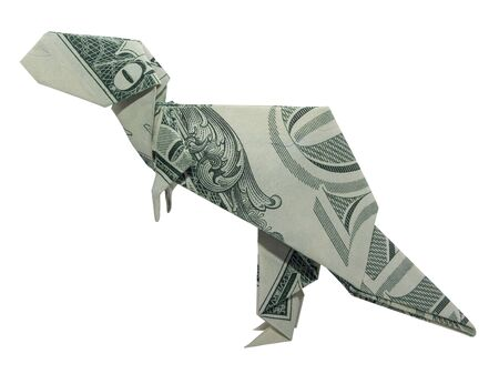 Money Origami T-Rex Tyrannosaurus Dinosaur Folded with Real One Dollar Bill Isolated on White Background Standard-Bild