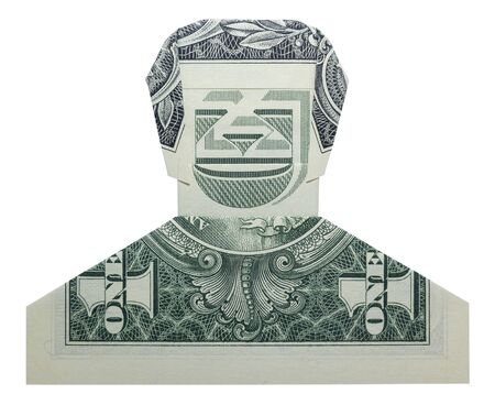 Money Origami Smiling DUDE Man Face Folded with Real One Dollar Bill Isolated on White Background 免版税图像