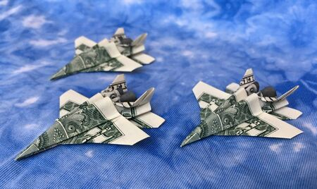 Money Origami Three Flying Jet Fighters Folded with Real One Dollar Bills