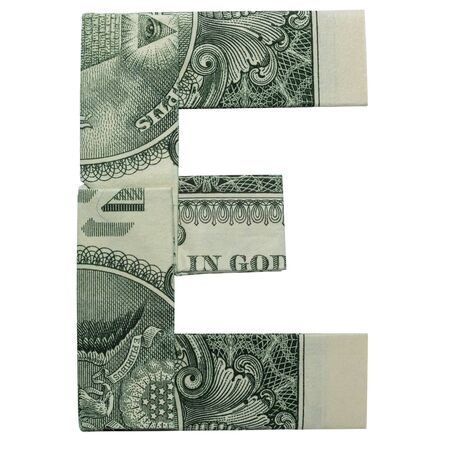 Money Origami LETTER E Character Folded with Real One Dollar Bill Isolated on White Background Foto de archivo