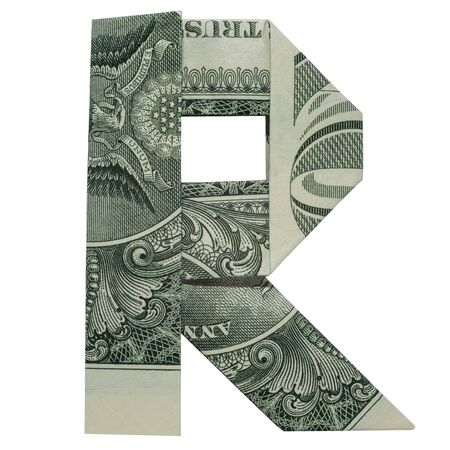 Money Origami LETTER R Character Folded with Real One Dollar Bill Isolated on White Stock fotó