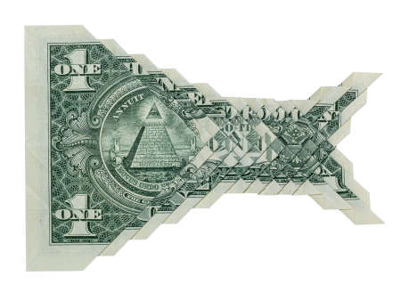 Money Origami KOI Fish Scale Template Folded with Real One Dollar Bill Isolated on White Background