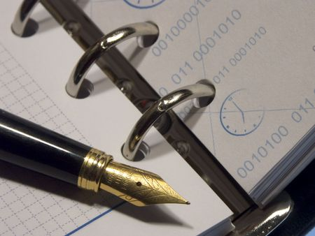 The Business diary opened on a blank page and fine fountain pen. Stock Photo - 329343