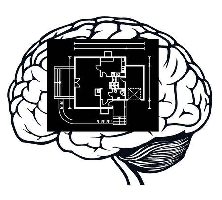 brain with blueprint Stock Vector - 8557338
