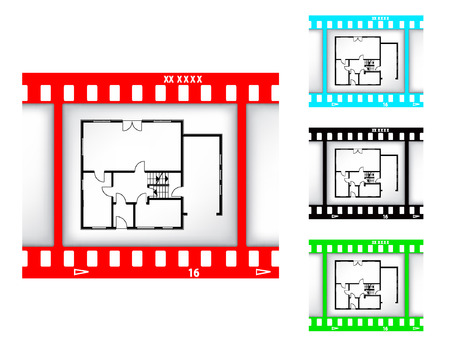 blueprint of house on film background Stock Vector - 8557337