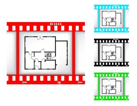 blueprint of house on film background Illustration