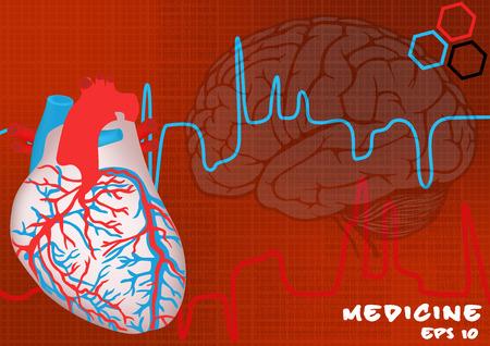infarctus: arri�re-plan de coeur et le cerveau humain Illustration