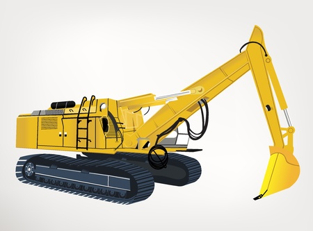 road works: weight and powerful excavator