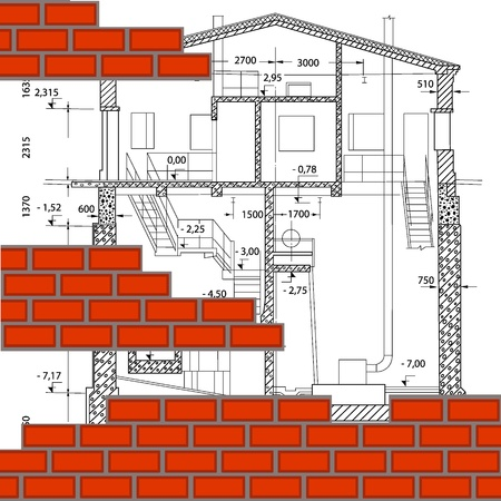 housing project: illustration of two-stored house  architectural background