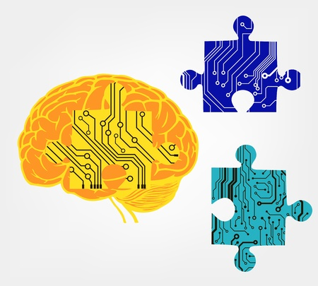 brain with puzzle in circuit style   illustration Stock Vector - 17170379