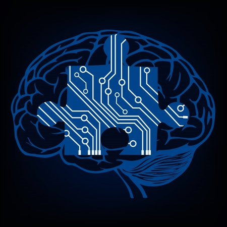 brain clipart: brain with puzzle in circuit style   illustration  Illustration