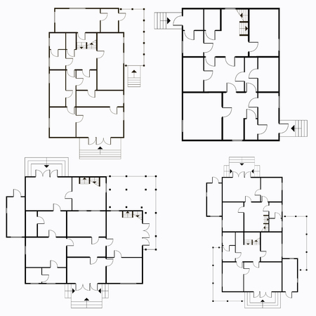 Architectural blueprint in top view background illustration