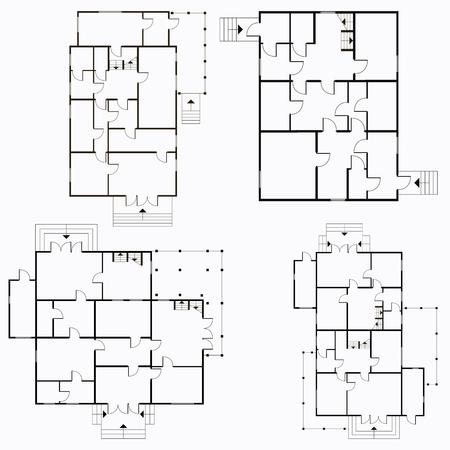 Plano arquitectónico en la ilustración de fondo de vista superior