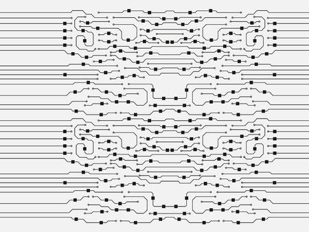 Fondo de placa de circuito de vector. Ilustración de placa de circuito plano abstracto