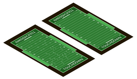 Vector flat isometric view of rugby field illustration. Abstract isometric sport illustration