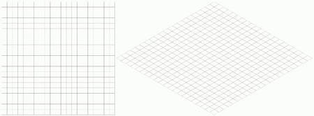 Vector illustration of isometric grid background. Simple rhombus graph paper template