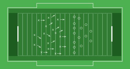 Vector flat rugby field.