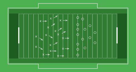 Vektor-flaches Rugby-Feld.