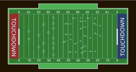 Vector flat rugby field. Sport vector illustration.