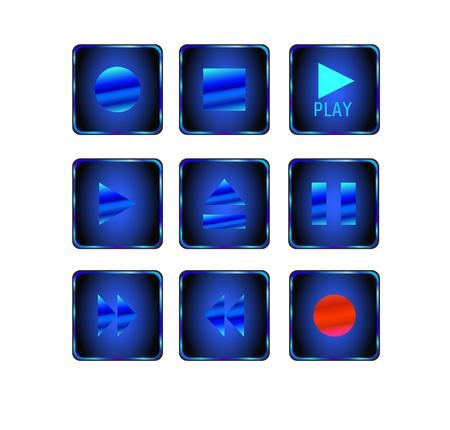 Icono de soporte y botones de los jugadores Vectores