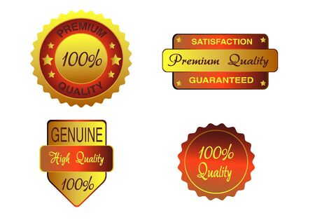 Set of luxury gold business quality labels  Illustration