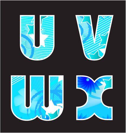 Abstract blauw alfabet Stock Illustratie