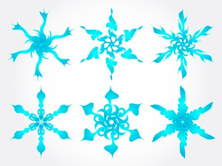 Set of abstract blue snowlakes