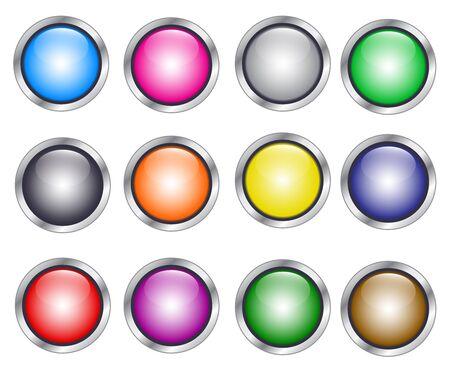 Moderne set van ronde kleurrijke knoppen Stock Illustratie
