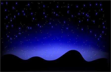 Nacht woestijnlandschap en de hemel vol sterren